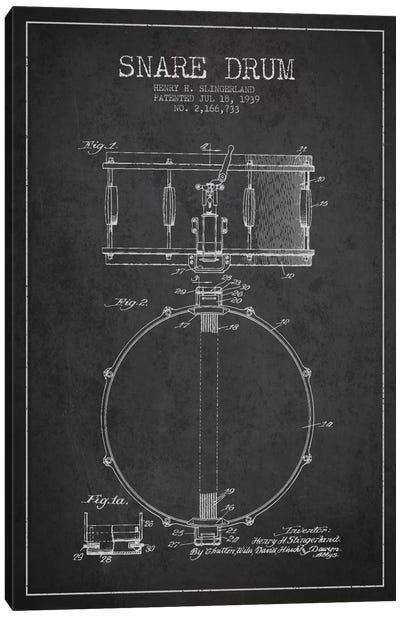 Drum Charcoal Patent Blueprint Canvas Art Print