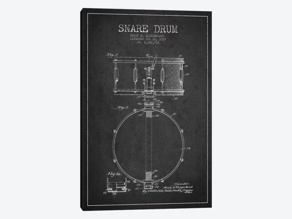 Drum Charcoal Patent Blueprint by Aged Pixel 1-piece Canvas Art Print