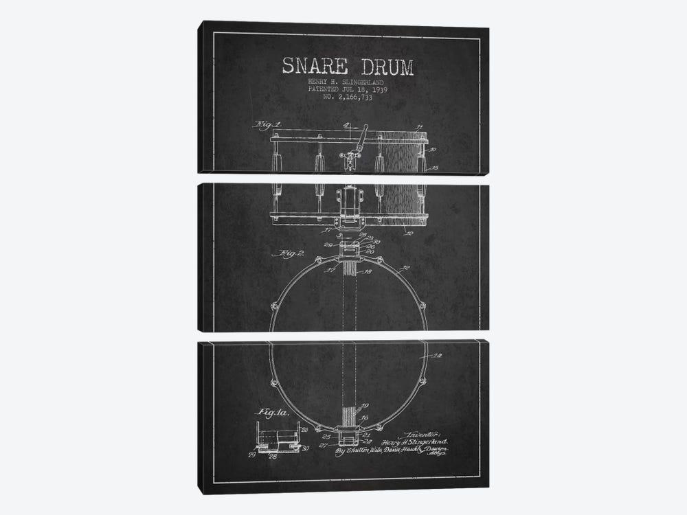 Drum Charcoal Patent Blueprint by Aged Pixel 3-piece Canvas Print