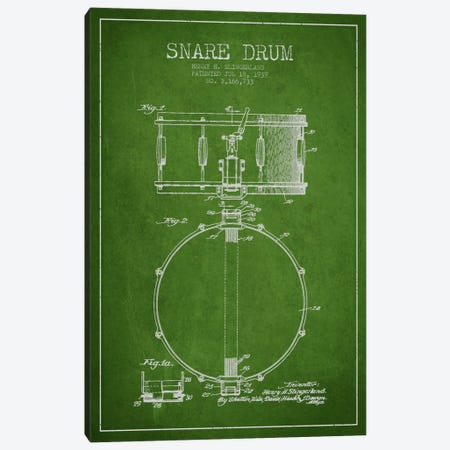 Drum Green Patent Blueprint Canvas Print #ADP875} by Aged Pixel Art Print