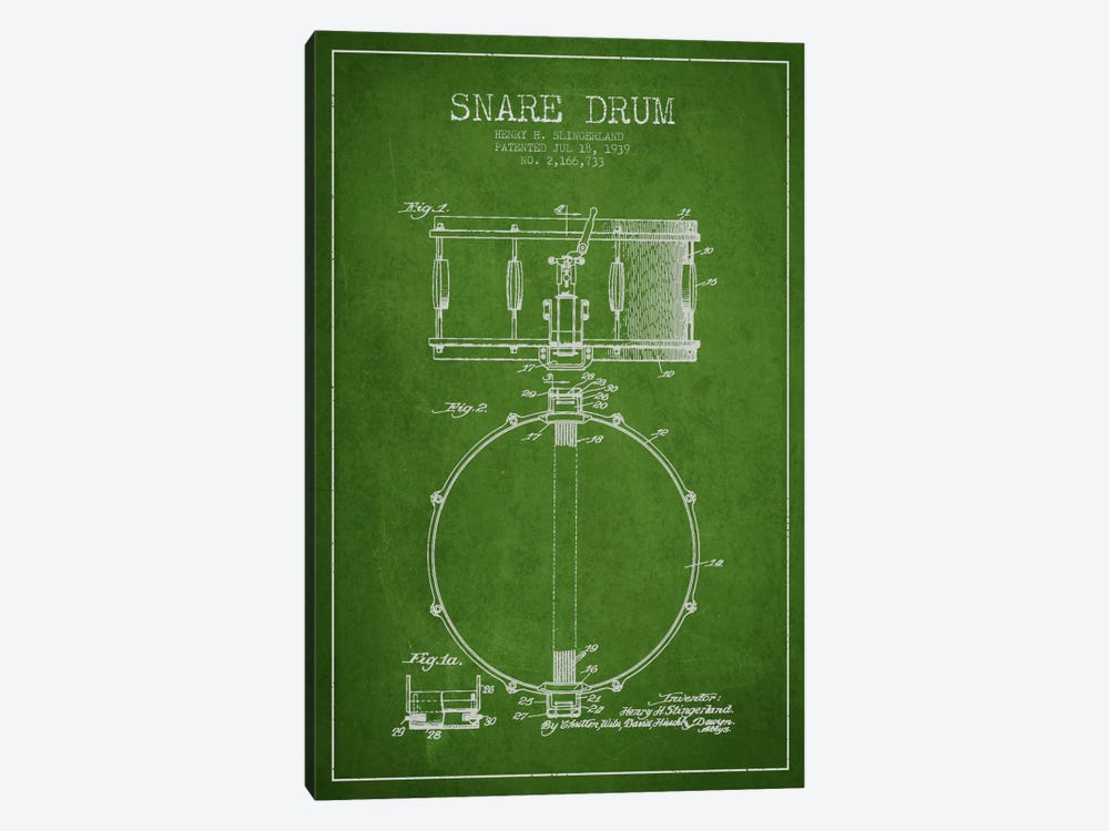 Drum Green Patent Blueprint by Aged Pixel 1-piece Canvas Artwork