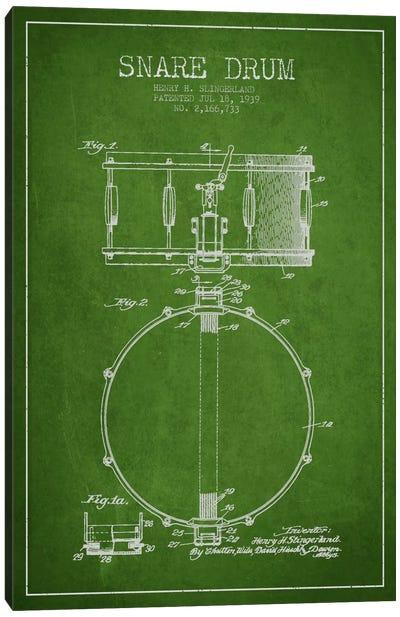 Drum Green Patent Blueprint Canvas Art Print