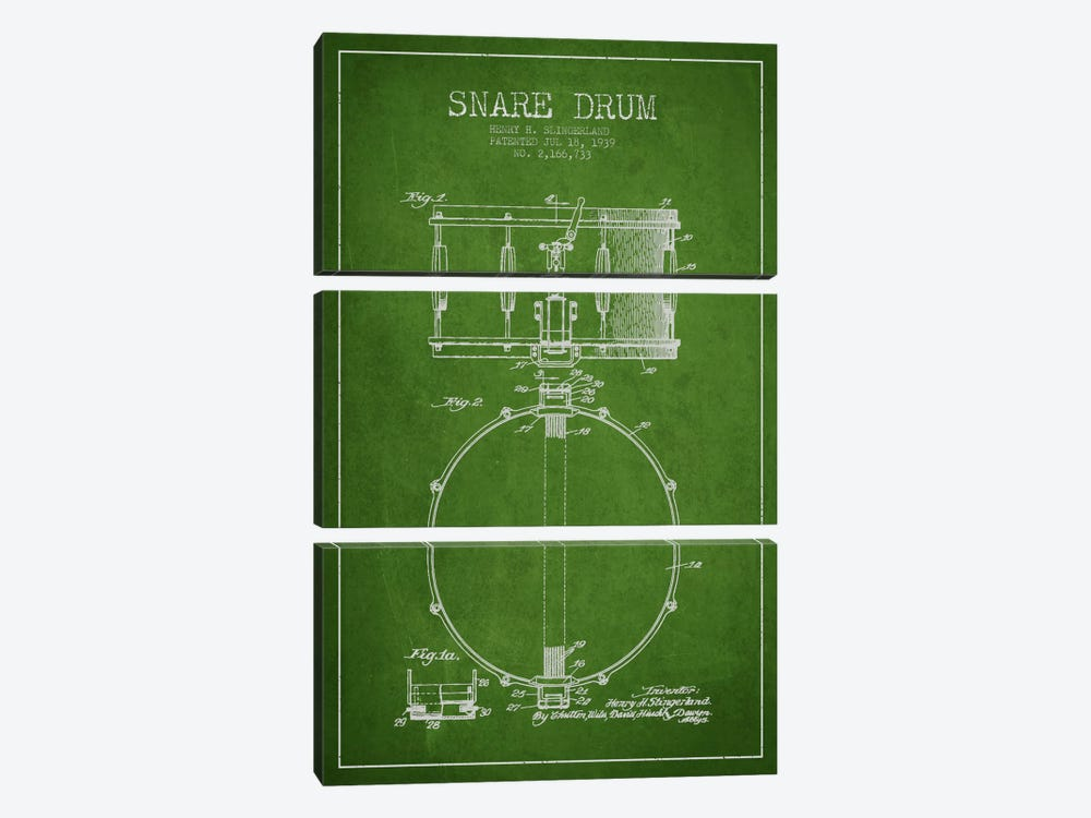 Drum Green Patent Blueprint by Aged Pixel 3-piece Canvas Wall Art