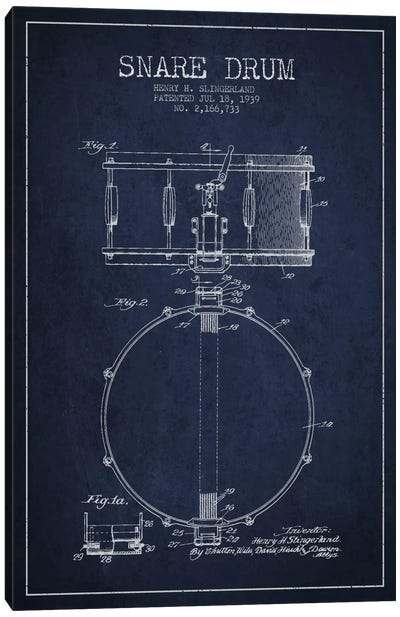 Drum Navy Blue Patent Blueprint Canvas Art Print