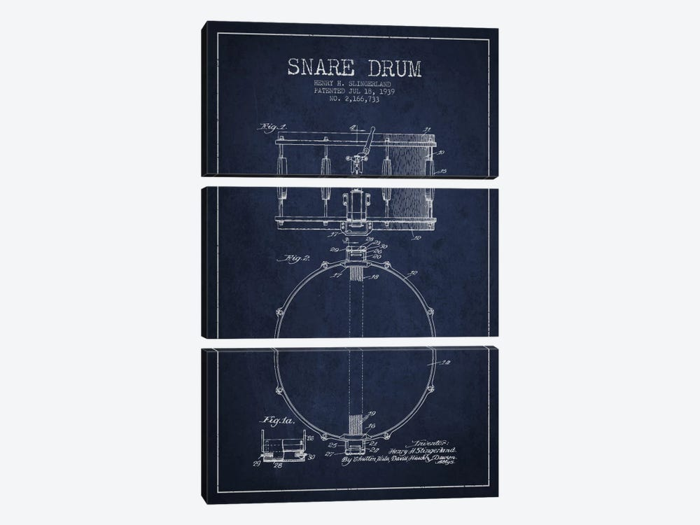 Drum Navy Blue Patent Blueprint by Aged Pixel 3-piece Art Print