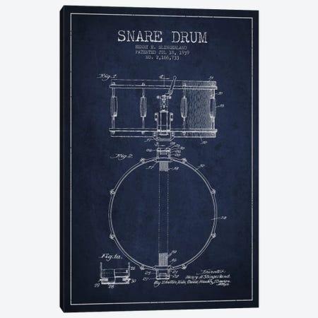 Drum Navy Blue Patent Blueprint Canvas Print #ADP876} by Aged Pixel Canvas Art Print