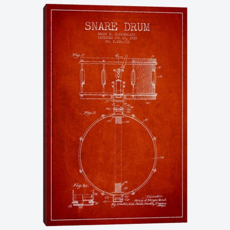 Drum Red Patent Blueprint Canvas Print #ADP877} by Aged Pixel Art Print