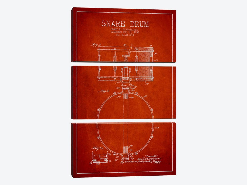 Drum Red Patent Blueprint by Aged Pixel 3-piece Canvas Wall Art