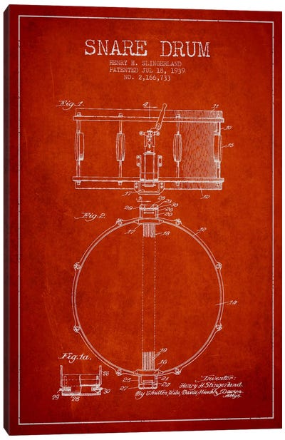 Drum Red Patent Blueprint Canvas Art Print