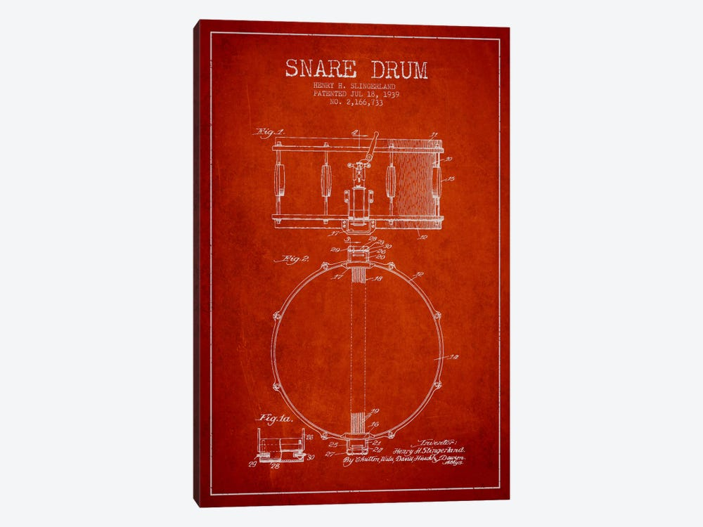 Drum Red Patent Blueprint by Aged Pixel 1-piece Canvas Wall Art