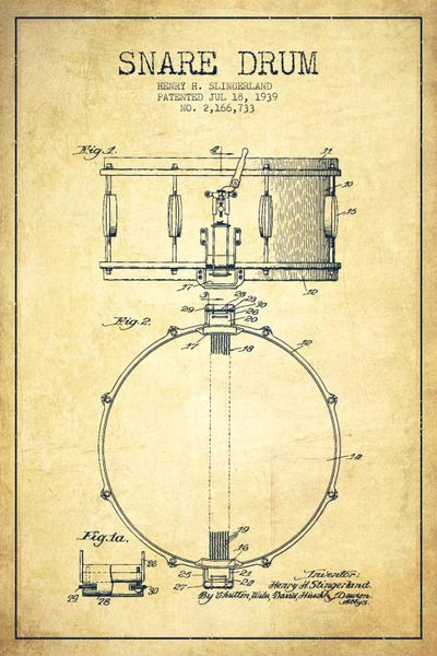 Drum Vintage Patent Blueprint Canvas Art Print By Aged