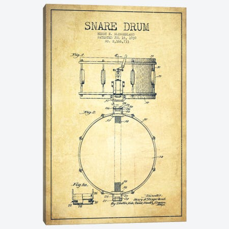Drum Vintage Patent Blueprint Canvas Print #ADP878} by Aged Pixel Canvas Wall Art