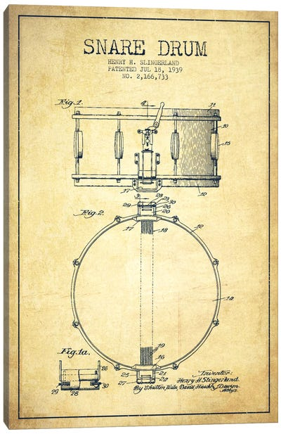 Drum Vintage Patent Blueprint Canvas Art Print