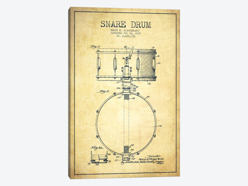 Drum Vintage Patent Blueprint by Aged Pixel 1-piece Art Print
