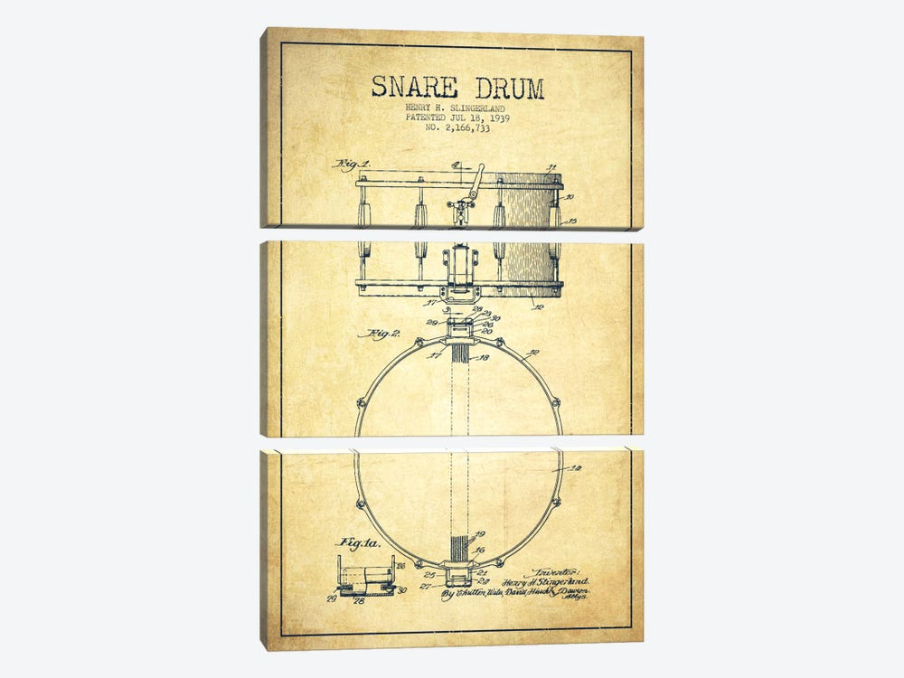 Drum Vintage Patent Blueprint by Aged Pixel 3-piece Canvas Art Print