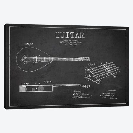 Guitar Charcoal Patent Blueprint Canvas Print #ADP879} by Aged Pixel Canvas Wall Art