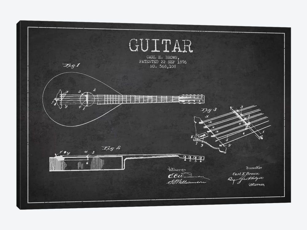 Guitar Charcoal Patent Blueprint by Aged Pixel 1-piece Canvas Art