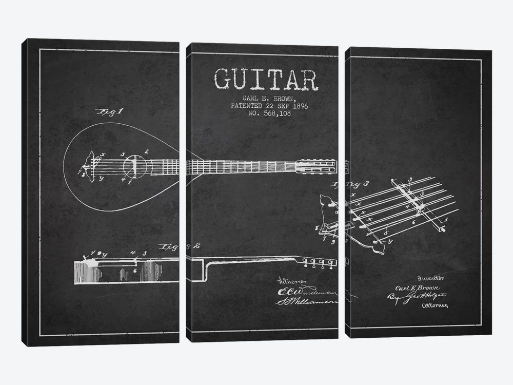 Guitar Charcoal Patent Blueprint by Aged Pixel 3-piece Canvas Wall Art