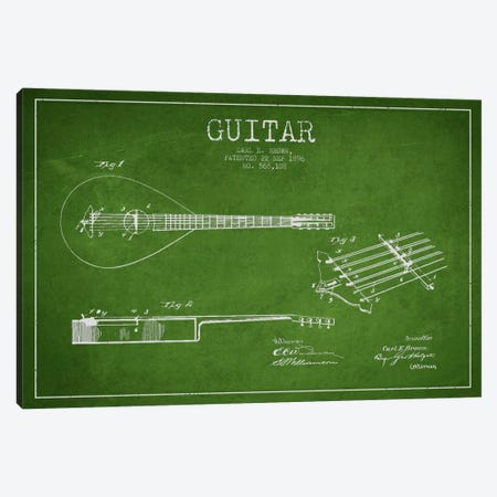 Guitar Green Patent Blueprint Canvas Print #ADP880} by Aged Pixel Canvas Print