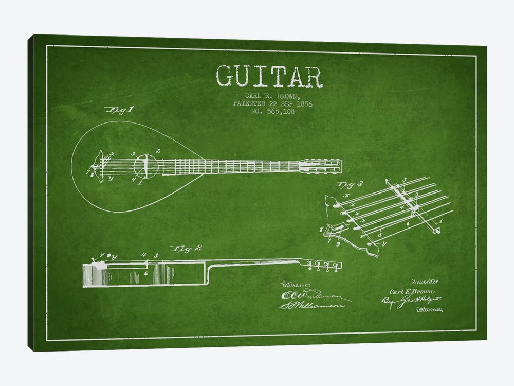 Guitar Green Patent Blueprint by Aged Pixel 1-piece Canvas Art