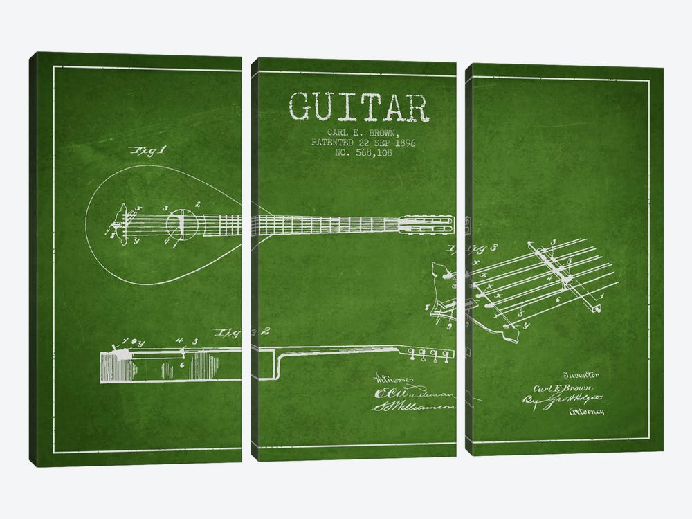 Guitar Green Patent Blueprint by Aged Pixel 3-piece Canvas Art