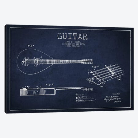 Guitar Navy Blue Patent Blueprint Canvas Print #ADP881} by Aged Pixel Art Print