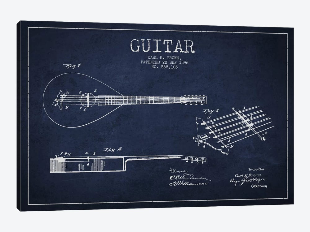 Guitar Navy Blue Patent Blueprint by Aged Pixel 1-piece Canvas Print