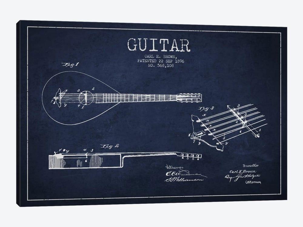 Guitar Navy Blue Patent Blueprint by Aged Pixel 1-piece Canvas Print