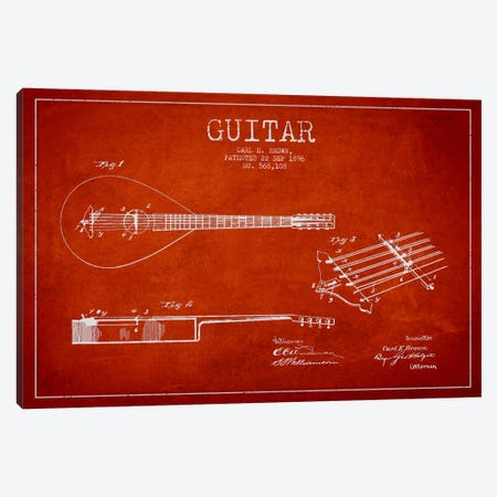 Guitar Red Patent Blueprint Canvas Print #ADP882} by Aged Pixel Art Print