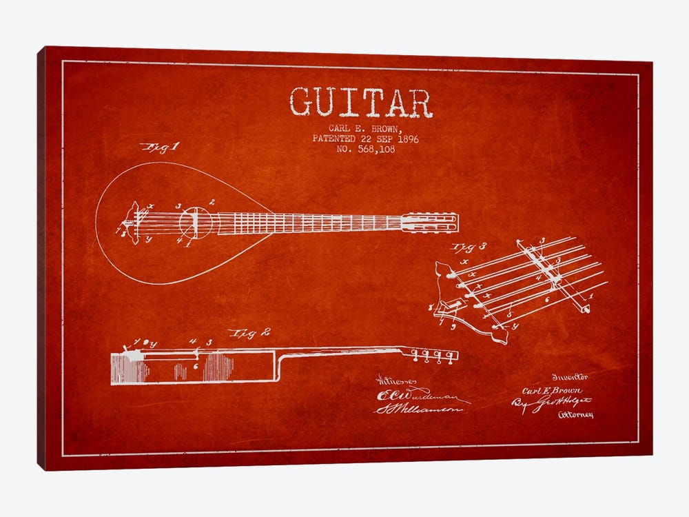 Guitar Red Patent Blueprint by Aged Pixel 1-piece Canvas Wall Art
