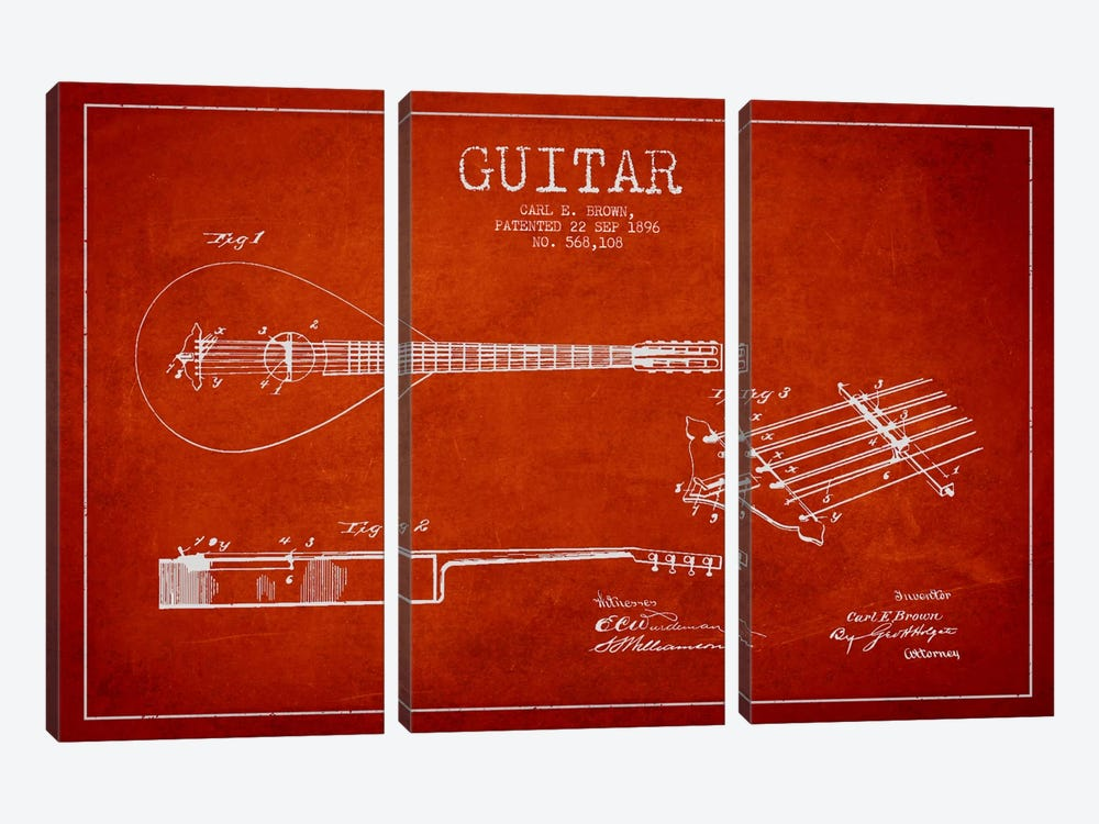 Guitar Red Patent Blueprint by Aged Pixel 3-piece Canvas Artwork
