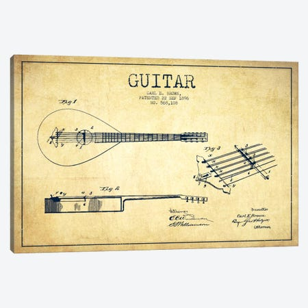 Guitar Vintage Patent Blueprint Canvas Print #ADP883} by Aged Pixel Canvas Art Print