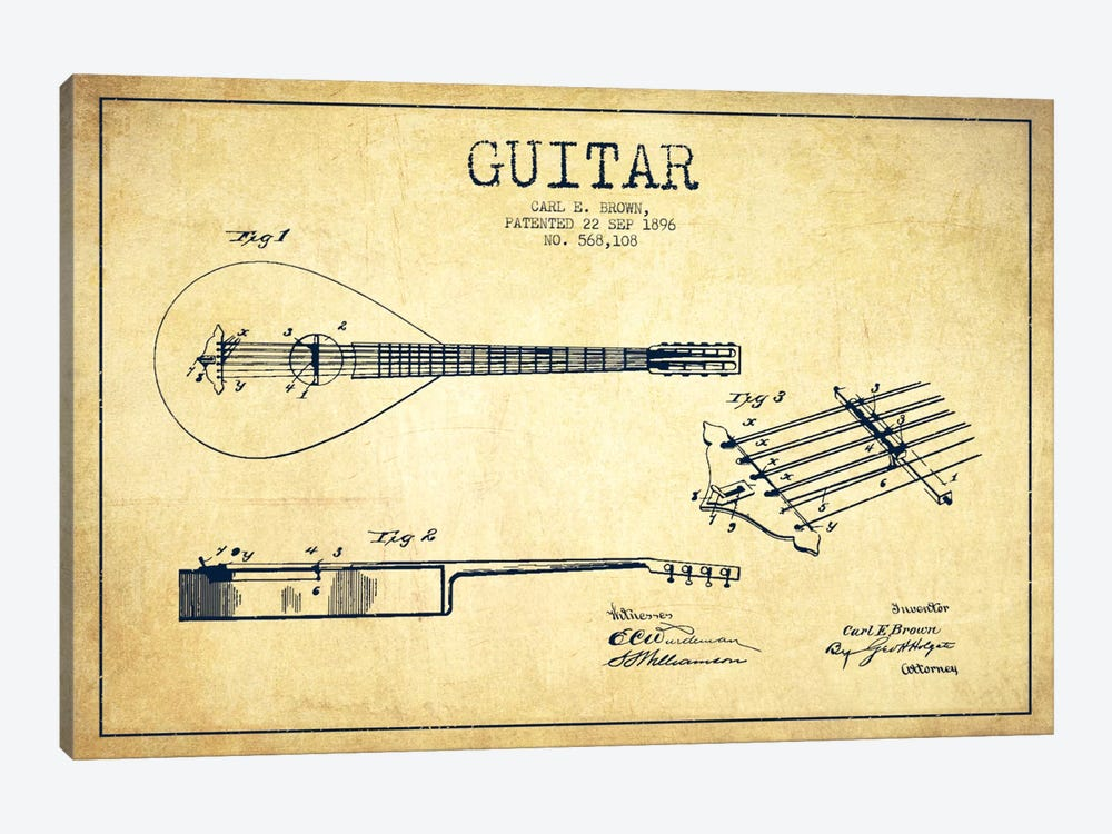 Guitar Vintage Patent Blueprint by Aged Pixel 1-piece Art Print