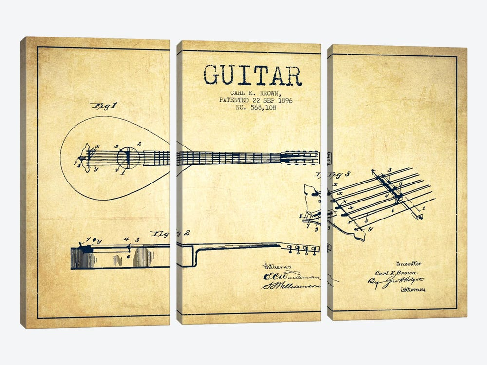 Guitar Vintage Patent Blueprint by Aged Pixel 3-piece Art Print