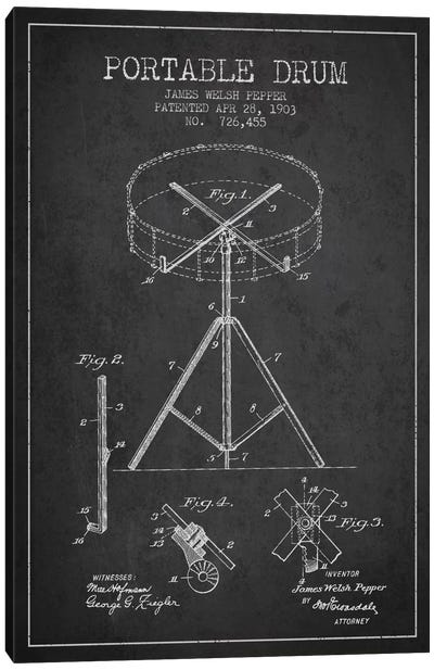 Drum Charcoal Patent Blueprint Canvas Print #ADP884