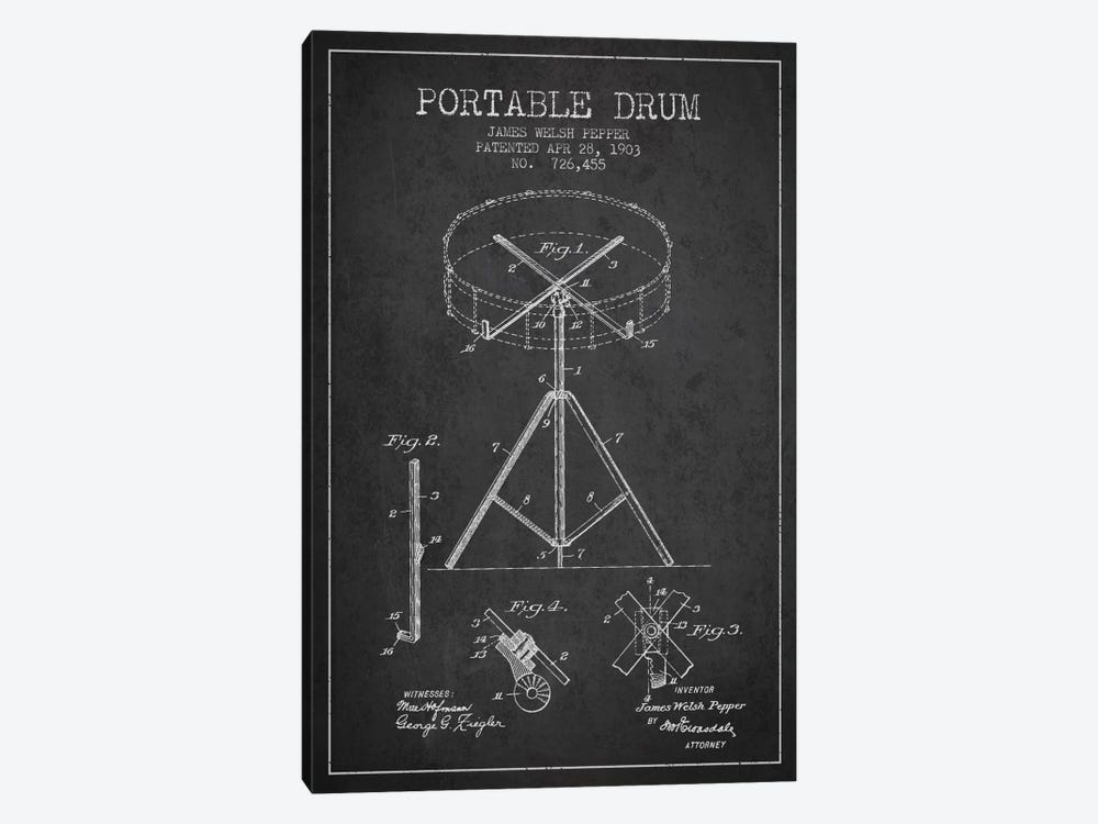Drum Charcoal Patent Blueprint by Aged Pixel 1-piece Canvas Artwork