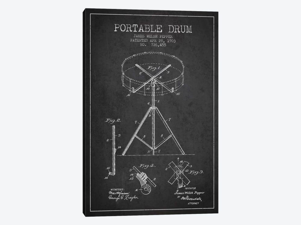Drum Charcoal Patent Blueprint by Aged Pixel 1-piece Canvas Artwork