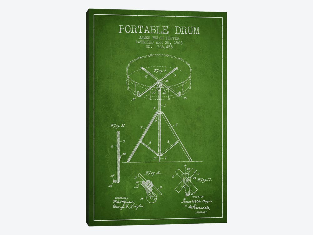 Drum Green Patent Blueprint by Aged Pixel 1-piece Canvas Art Print