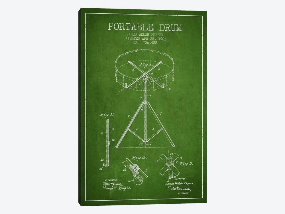Drum Green Patent Blueprint by Aged Pixel 1-piece Canvas Art Print