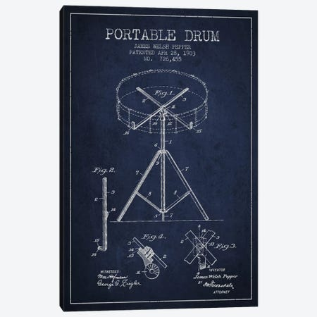 Drum Navy Blue Patent Blueprint Canvas Print #ADP886} by Aged Pixel Canvas Art