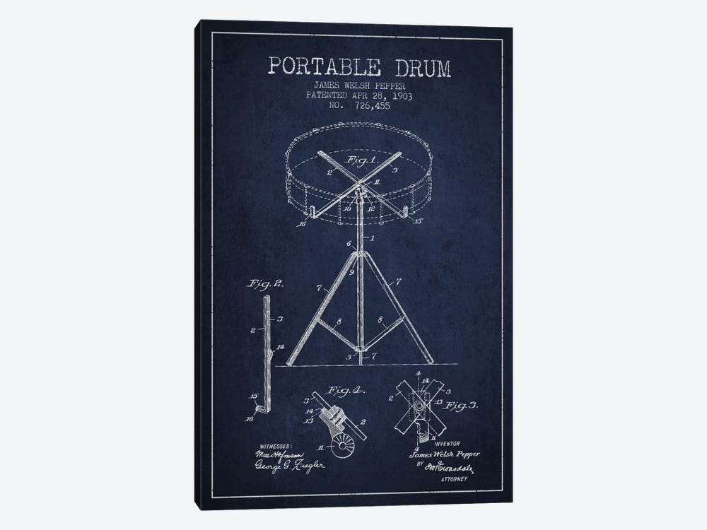 Drum Navy Blue Patent Blueprint by Aged Pixel 1-piece Canvas Wall Art