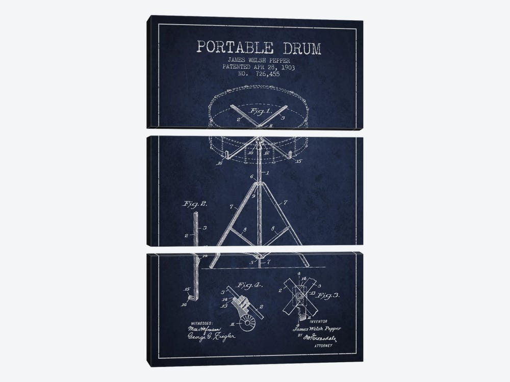 Drum Navy Blue Patent Blueprint by Aged Pixel 3-piece Canvas Wall Art
