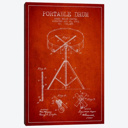 Drum Red Patent Blueprint Canvas Print #ADP887} by Aged Pixel Canvas Art