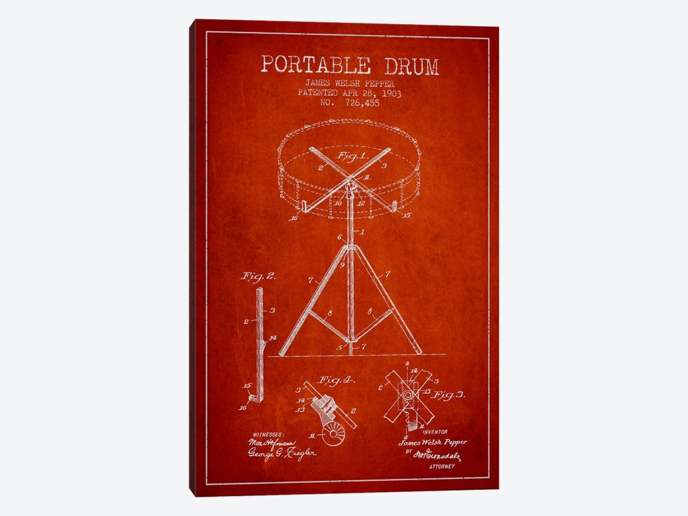 Drum Red Patent Blueprint by Aged Pixel 1-piece Art Print