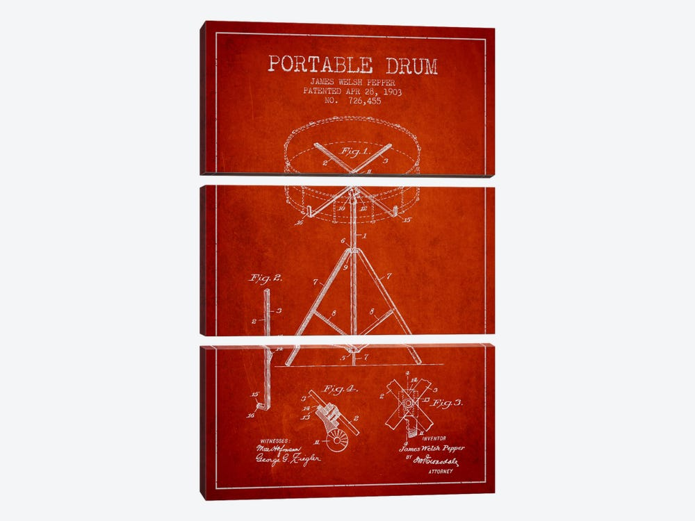 Drum Red Patent Blueprint by Aged Pixel 3-piece Canvas Print