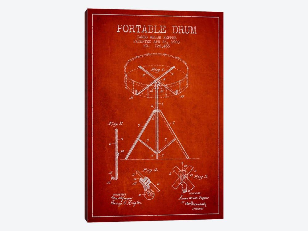 Drum Red Patent Blueprint by Aged Pixel 1-piece Art Print