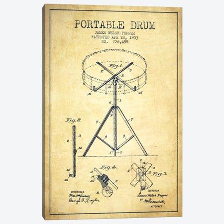 Drum Vintage Patent Blueprint Canvas Print #ADP888} by Aged Pixel Canvas Print