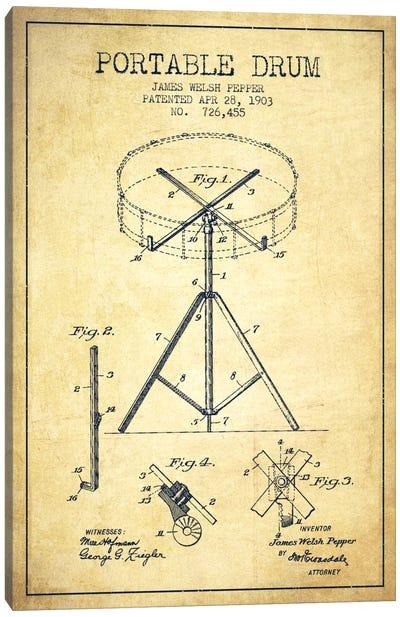 Drum Vintage Patent Blueprint Canvas Art Print