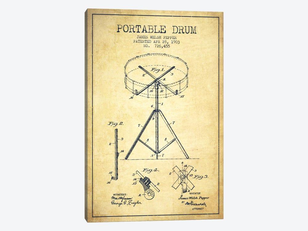 Drum Vintage Patent Blueprint by Aged Pixel 1-piece Canvas Art