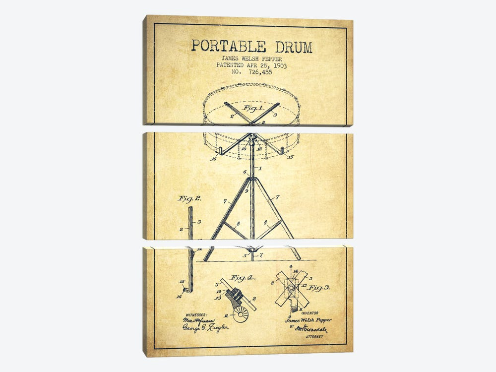 Drum Vintage Patent Blueprint by Aged Pixel 3-piece Canvas Art
